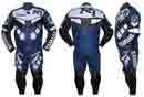 BLUE YR1 MOTORBIKE LEATHER JACKET TROUSER SUIT