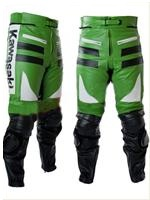 Kawasaki Green White and Black Motorcycle Leather Trouser