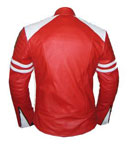 Stylish Mens Red &  white soft leather jacket