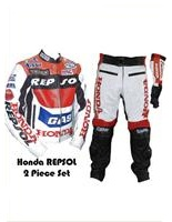 respol honda gas motobike leather suit