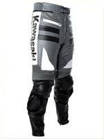 Grey white and Black Kawasaki Motorbike Leather Pant