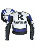 Kawasaki R Blue Biker Racing Leather Jacket