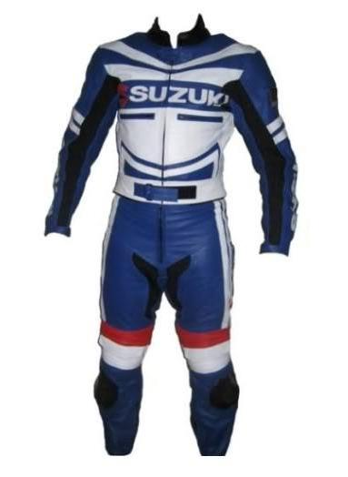biker suzuki motorcycle racing leather suit