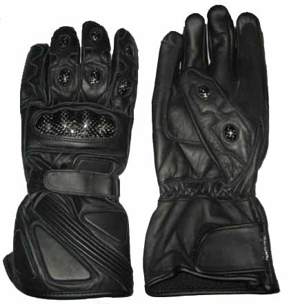 black color motorcycle leather gloves