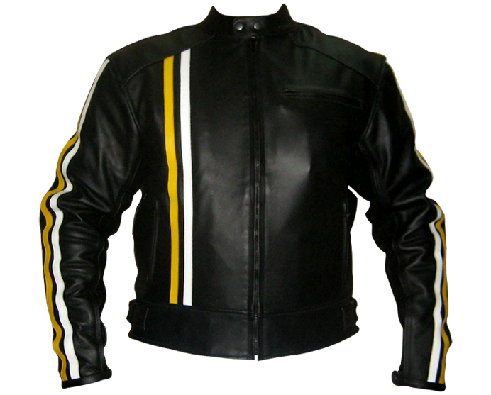 Black Colour Motorbike Leather Jacket with yellow white stripes