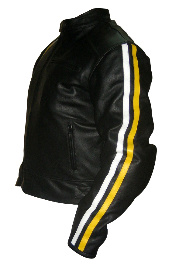 Black Colour Motorbike Leather Jacket with yellow white stripes side