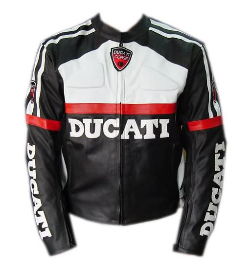 ducati motorcycle leather jacket black and white color