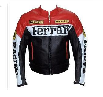ferrari brand motorcycle leather jacket red white black color