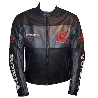 honda black motorcycle racing leather jacket