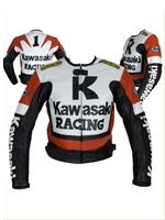 Kawasaki R Racing Red White Black Motorcycle Leather Jacket