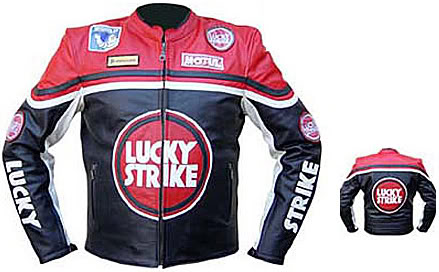lucky strike brand motorcycle leather jacket red color