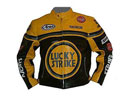 LUCKY STRIKE Yellow Black Color Biker Leather Jacket