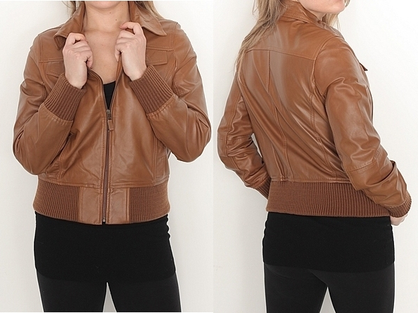 ladies fashion soft anline leather jacket