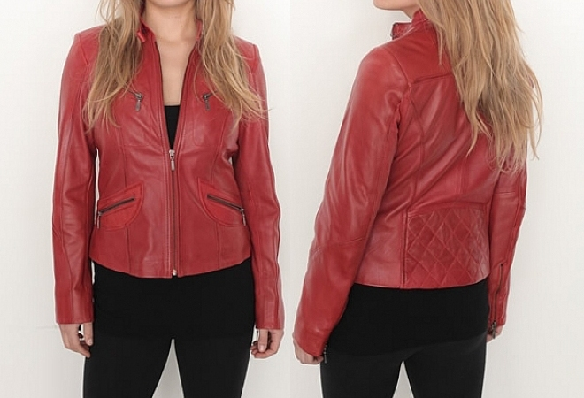 ladies red color soft anline leather jacket