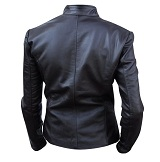 Ladies black color fashion leather jacket backside