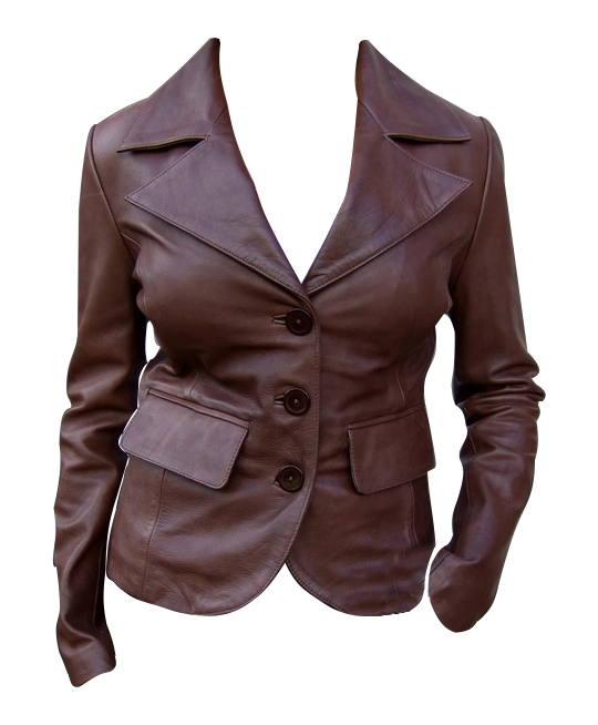 Ladies brown color fashion leather jacket