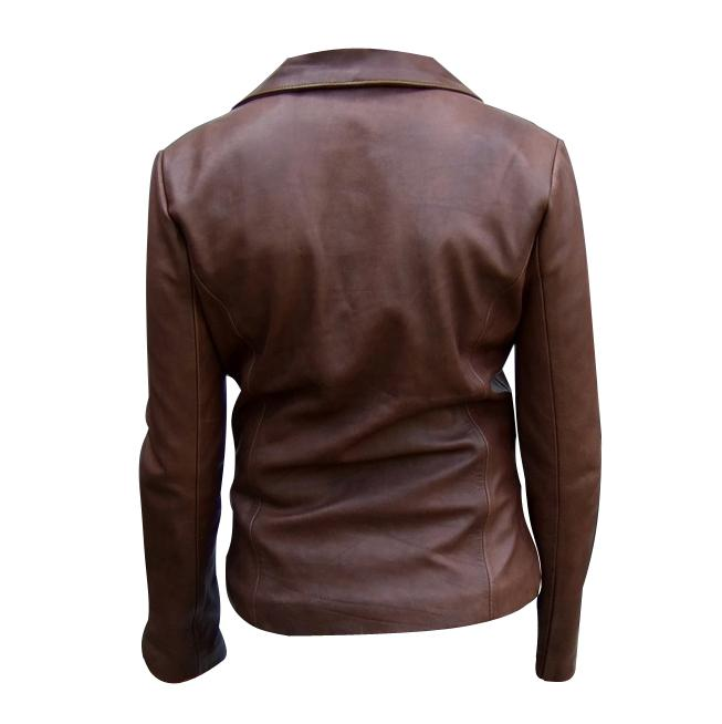 Ladies brown color fashion leather jacket backside