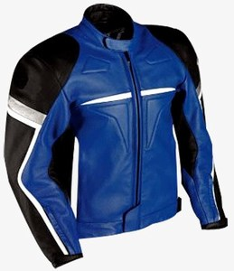 motorbike fashion racing leather jacket in blue black white colour
