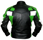 Motorbike leather jacket green black white colour backside