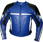Motorbike leather jacket in blue black white grey colour