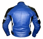 Motorbike leather jacket in blue black white grey colour backside