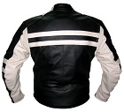 Motorbike racing leather jacket black and white colour backside