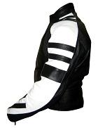Motorbike racing leather jacket black and white colour leftside