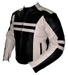 Motorbike racing leather jacket black and white colour sideview
