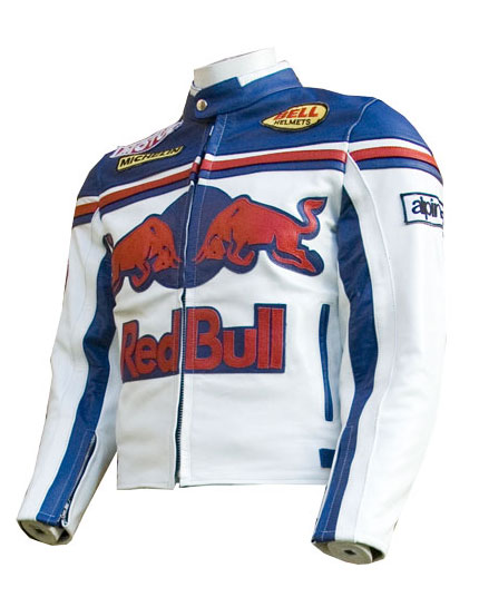 red bull biker racing leather jacket