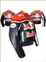 Red Bull Red and Black Motorcycle Leather Jacket