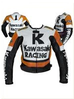 Kawasaki R Racing Orange White Black Motorcycle Leather Jacket