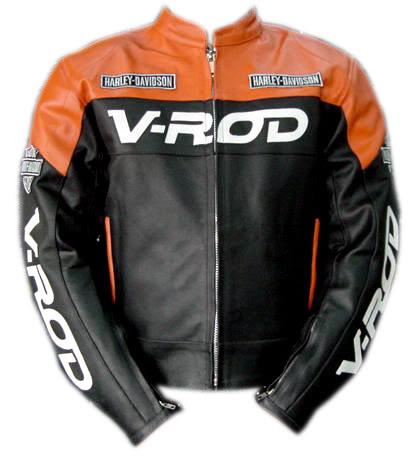 v rod orange and black color motorcycle leather jacket