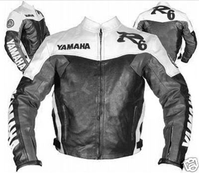 yamaha r6 black white and grey color motorcycle leather jacket