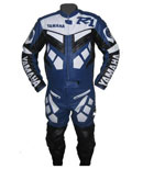 Yamaha R1 Blue White Color Motorcycle Leather Suit