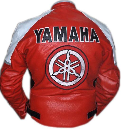 yamaha red and white motorcycle riding leather jacket
