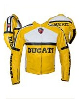 Yellow Ducati Motorcycle Leather jacket