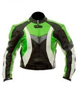 biker fashion leather jacket green black white colour