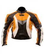 biker fashion leather jacket orange black white colour