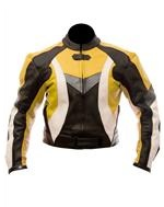 biker fashion leather jacket yellow black white colour