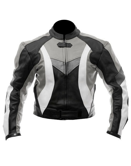 biker motorcycle leather jacket black gray white colour