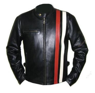 black soft aniline leather jacket with red and white stripe