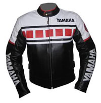 Black and White Color Yamaha Motorcycle Leather Jacket
