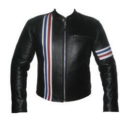 stylish black soft aniline leather jacket with 3 color stripe