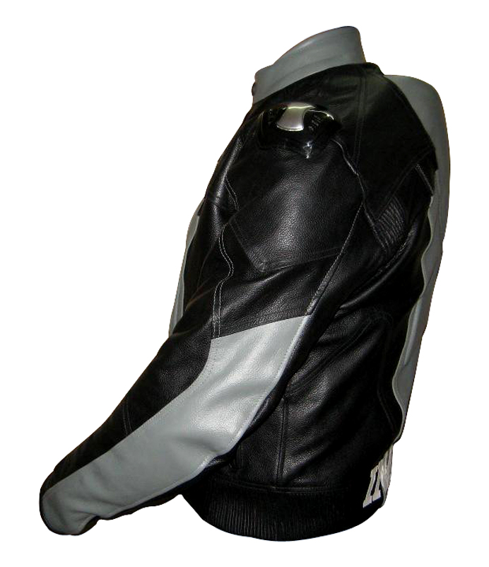 grey and black colour biker leather jacket with back hump backside