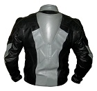 grey and black colour biker leather jacket with back hump sideview