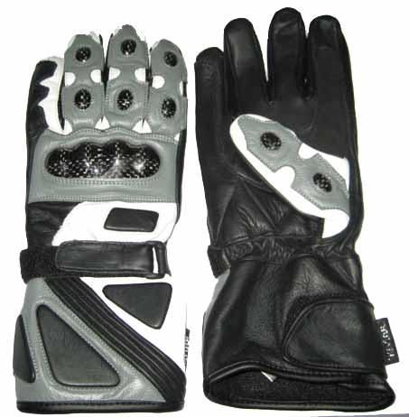 grey color motorcycle leather gloves