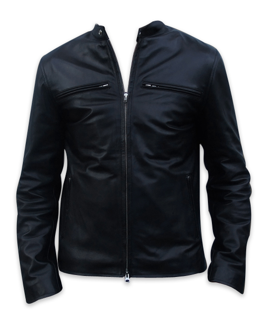 men s fashion soft aniline black leather jacket