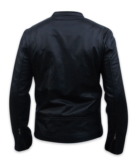 men s fashion soft aniline black leather jacket backside