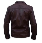 men s fashion soft aniline dark brown leather jacket backside
