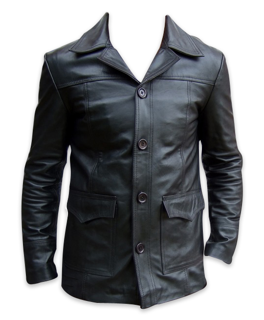 Mens four button black color leather coat